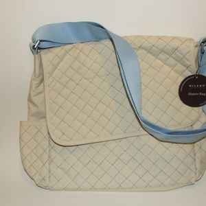 Milano Series Quilted Diaper Flap Bag Beige & Blue